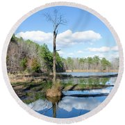 Winter Lake View Round Beach Towel by George Randy Bass