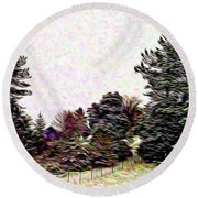 Winter Landscape 1 In Abstract Round Beach Towel