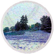Winter Landscape 2 In Abstract Round Beach Towel