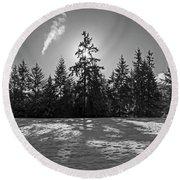 Winter Landscape - 365-317 Round Beach Towel by Inge Riis McDonald