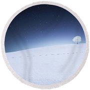 Round Beach Towel featuring the photograph Winter Landscape by Bess Hamiti