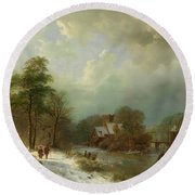 Round Beach Towel featuring the painting Winter Landscape - Holland by Barend Koekkoek