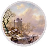 Winter Landscape With Castle Round Beach Towel