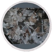 Winter Leaf Abstract-i Round Beach Towel