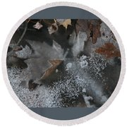 Winter Leaf Abstract-ii Round Beach Towel