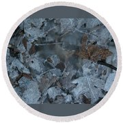Winter Leaf Abstract-v Round Beach Towel