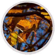 Winter Leaf Round Beach Towel
