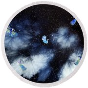 Winter Leaves And Fairies Round Beach Towel