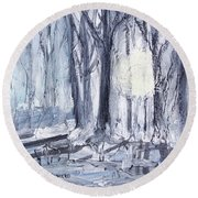 Round Beach Towel featuring the painting Winter Light by Robin Maria Pedrero