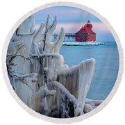 Winter Lighthouse Round Beach Towel