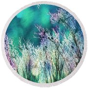 Winter Lights Round Beach Towel by Kathy Bassett