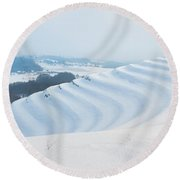 Winter Lines Round Beach Towel