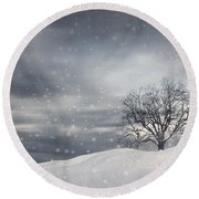 Winter Round Beach Towel by Lourry Legarde