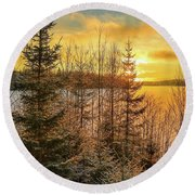 Winter Magic Round Beach Towel by Rose-Marie Karlsen