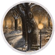 Round Beach Towel featuring the painting Winter Magic by Veronica Minozzi