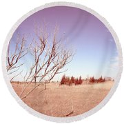 Round Beach Towel featuring the photograph Winter Marshlands by Colleen Kammerer