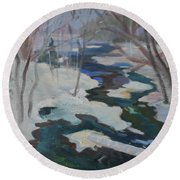 Round Beach Towel featuring the painting Winter Mill Stream  by Francine Frank