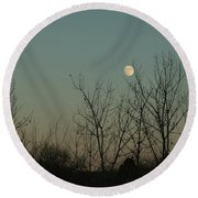 Round Beach Towel featuring the photograph Winter Moon by Ana V Ramirez