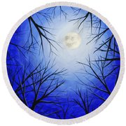 Winter Moon Round Beach Towel