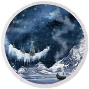 Winter Moon Round Beach Towel