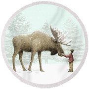 Winter Moose Round Beach Towel