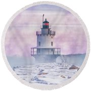 Winter Morning At Spring Point Ledge Round Beach Towel