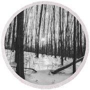 Winter Morning Dream Round Beach Towel by Angelo Marcialis
