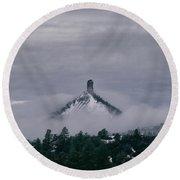 Winter Morning Fog Envelops Chimney Rock Round Beach Towel by Jason Coward