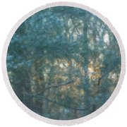 Winter Morning Glory Round Beach Towel