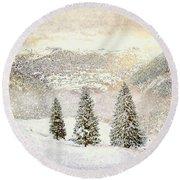 Round Beach Towel featuring the digital art Winter Morning by Kai Saarto