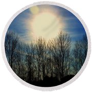 Winter Morning Round Beach Towel by MaryLee Parker