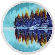 Winter - Mountain Lake Round Beach Towel