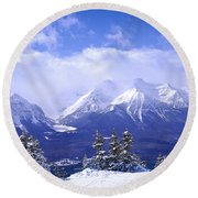 Winter Mountains Round Beach Towel