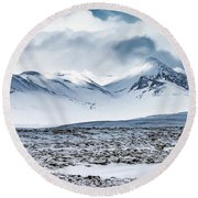 Winter Mountains Landscape, Iceland Round Beach Towel