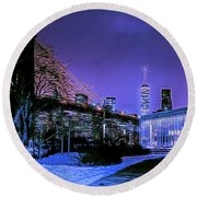 Winter Night Round Beach Towel