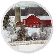 Round Beach Towel featuring the photograph Winter On A Farm by Rod Best