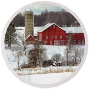 Winter On A Farm Round Beach Towel