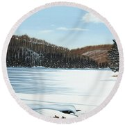 Winter On An Ontario Lake  Round Beach Towel