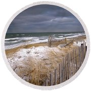 Winter On Cape Cod Round Beach Towel by Charles Harden