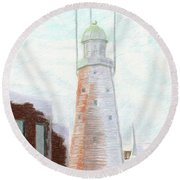 Winter On Munjoy Hill Round Beach Towel