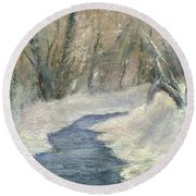 Round Beach Towel featuring the painting Winter On Stormcreek by Gail Kirtz
