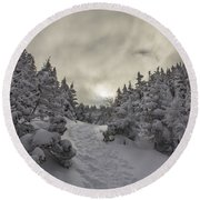 Winter On The Ammo Trail Round Beach Towel