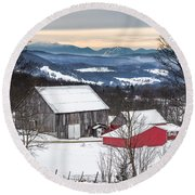 Winter On The Farm On The Hill Round Beach Towel