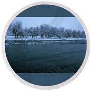 Winter On The Kern River Round Beach Towel