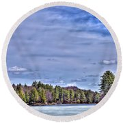 Round Beach Towel featuring the photograph Winter On The Pond by David Patterson