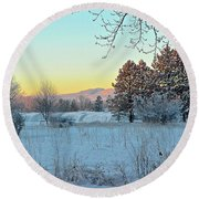 Winter On The Tree Farm Round Beach Towel