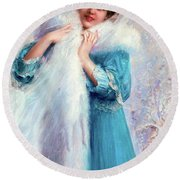 Winter Pastel 1857 - 1945 Round Beach Towel