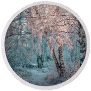 Winter Path #h1 Round Beach Towel