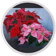 Winter Poinsettias Round Beach Towel