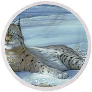 Round Beach Towel featuring the painting Winter Prince by Mike Brown